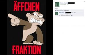 """Reaktion aus der Neonaziszene mit Bezug zur """"Äffchen-Fraktion"""" © Screenshot Facebook"""