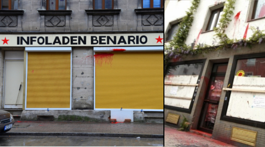 Farbanschläge auf Fürther Infoladen (links) und Münchner Hausprojekt(rechts).Fotos: Infoladen Benario / anonym (Creative Commons)