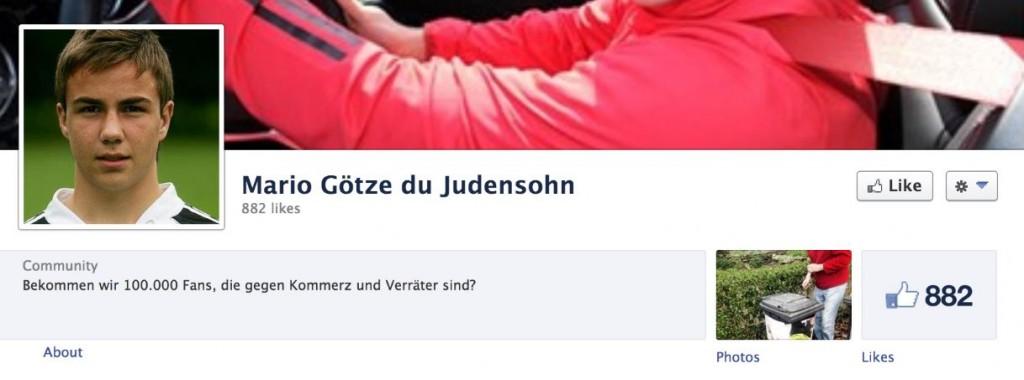 Die inzwischen gelöschte Hetz-Seite gegen Mario Götze © Screenshot