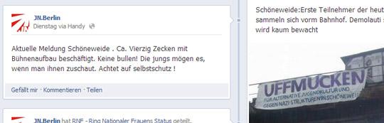 """Aufruf der JN Berlin: """"Keine bullen! Die jungs mögen es, wenn man ihnen zuschaut."""" © Facebook"""