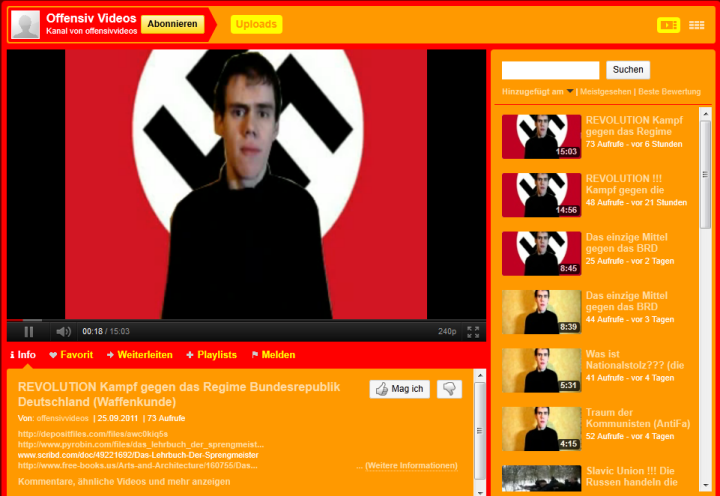 Screenshot von YouTube, 2011. Quelle: Reichling's Blog