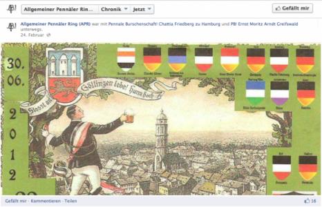 Screenshot Die APR-Mitgliedsbünde bei Facebook