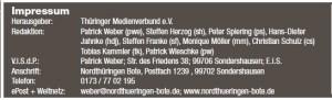 """Das Impressum des Nordthüringen Botens. Herausgeber: """"Thüringer Medienverbund e.V."""