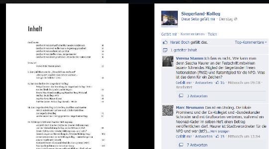 Stein des Anstoßes: Siegerland-Kolleg veröffentlicht das Inhaltsverzeichnis ihrer Jubiläumsschrift © Screenshot