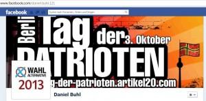 """WA13- und AfD-Aktivist Daniel B. mobilisierte zum """"Tag der Patrioten"""" © Screenshot von Facebook"""