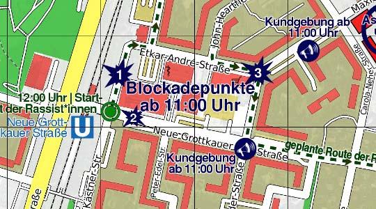 Antifa-Aktionskarte gegen den geplanten rechten Aufmarsch in Berlin-Hellersdorf