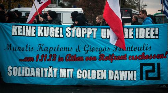 """Neonazis fordern in Berlin """"Solidarität mit Golden Dawn"""" © Theo Schneider"""