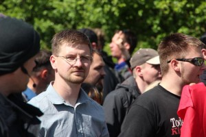 David Petereit (NPD) am 1. Mai 2014 in Rostock, Foto: Presseservice-Rathenow