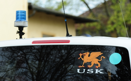 """Polizeibus vom """"Unterstützungskommando"""" (USK) Foto: Timo Müller"""