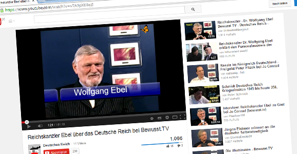 Wolfgang Ebel im Interview in der Show des Verschwörungstheoretikers Jo Conrad. © Screenshot