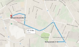 Kaum 3 Kilometer Demoroute, Quelle: Google Maps
