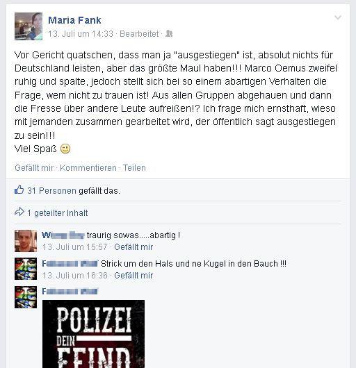 Die Berliner RNF-Vorsitzende Maria Fank auf Facebook © Screenshot