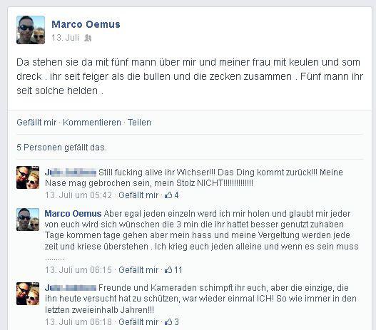 Marco Oemus schildert die Attacke auf Facebook © Screenshot