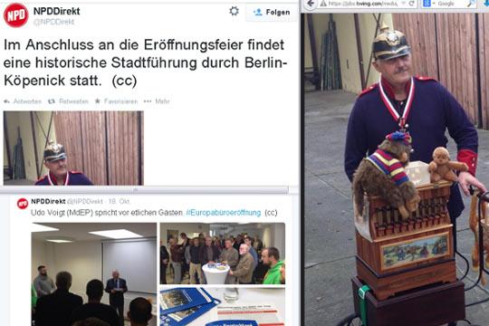 """NPD-Bezirksverordneter und Ex-Stasi-IM Liebenow als """"Hauptmann von Köpenick"""" © Screenshot Twitter"""