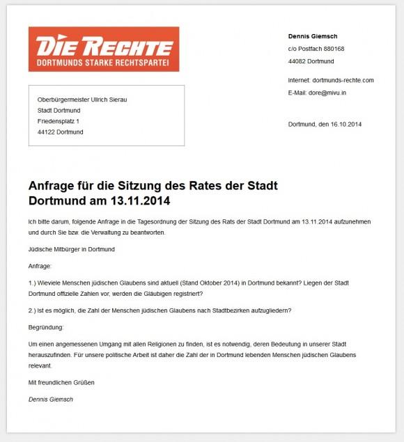 Anfrage des Neonazis Giemsch aus dem Stadtrat in Dortmund, Foto: Screenshot.