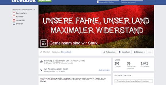 Auf Facebook wird der rechte Aufmarsch beworben