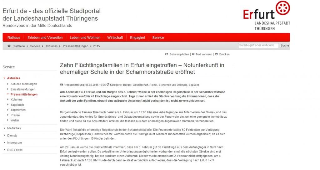 MItteilung der Stadt Erfurt, Screenshot