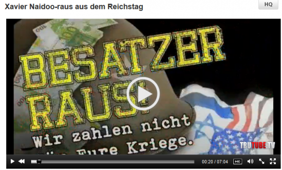 """Screenshot von TruTube: """"Xavier Naidoo - Raus aus dem Reichstag"""""""