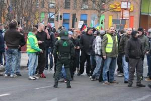 "Thüringer Hooligans bei ""Pegada""-Aufmarsch im Januar in Erfurt © Kai Budler"