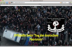 Tag der deutschen Patrioten, Werbung mit den Krawallen von Köln, screenshot gelöschte Homepage