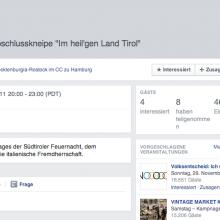"""Screenshot der Facebookankündigung für eine """"Südtirol-Kneipe"""" 2011"""