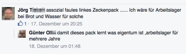 Facebook-Kommentar des ehem. NPD-Landtagskandidaten Jörg T. über Wagenplatzbesetzer