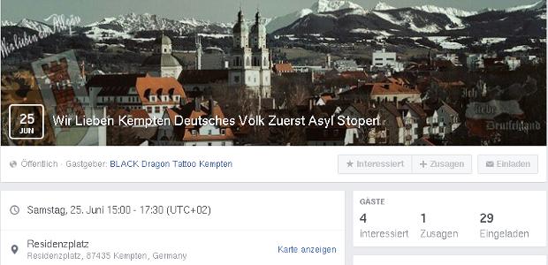 "Aufruf zur Demo ""Asyl stopen"" in Kempten ©Screenshot"