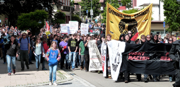Proteste gegen AfD in Lindberg am 13.7.2016