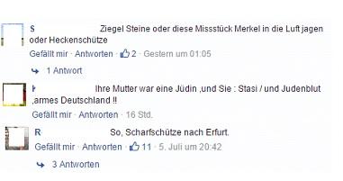 Beispiele für Hass auf Facebook. Screenshot.
