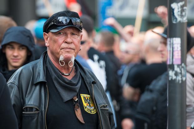 Siegfried Borchardt, genannt SS-Siggi, mehrfach vorbestrafter Neonazi und ehemaliger Funktionär der 1995 verbotenen Freiheitlichen Deutschen Arbeiterpartei © Christian Martischius