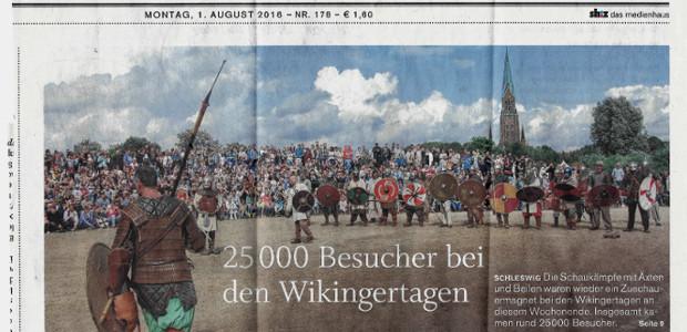 """Achtspeichigem Hakenkreuz auf Titel der """"Schleswiger Nachrichten"""""""