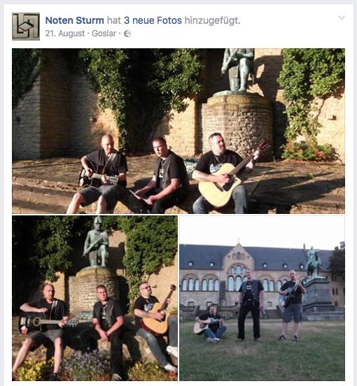 """Die Band """"Notensturm"""" vor der Kaiserplatz in Goslar. Screenshot von Facebook"""