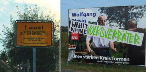 Unbekannte verschandelten Ortseingangsschilder in mehreren Teilen Brandenburgs und Wahlplakate für die Landratswahl in Potsdam-Mittelmark. Fotos: privat