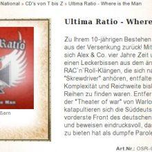 """""""Ultima Ratio"""": """"Oldschool Records"""" vertreibt CD zum 10jährigen Bestehen der Band von """"Alex & Co."""" ©Screenshot"""