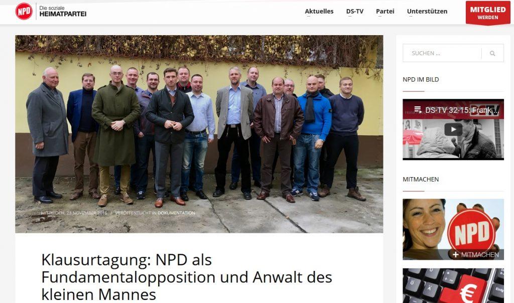 Der leicht männlich dominierte NPD-Parteivorstand bei seinem Treffen im November, Screenshot