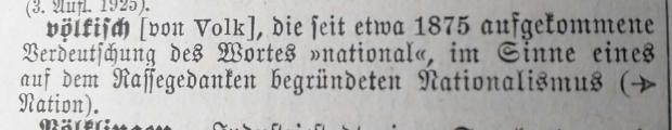 """""""Völkisch"""" - Eintrag in NS-Lexikon von 1938"""