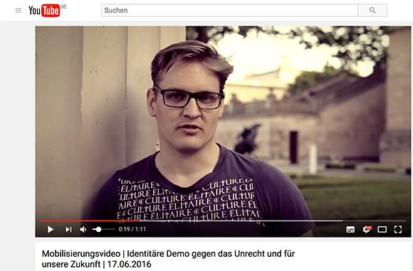 """Kai Laubach im Identitären-Mobivideo 2016 - im """"Culture Élitaire""""-Shirt © Screenshot"""