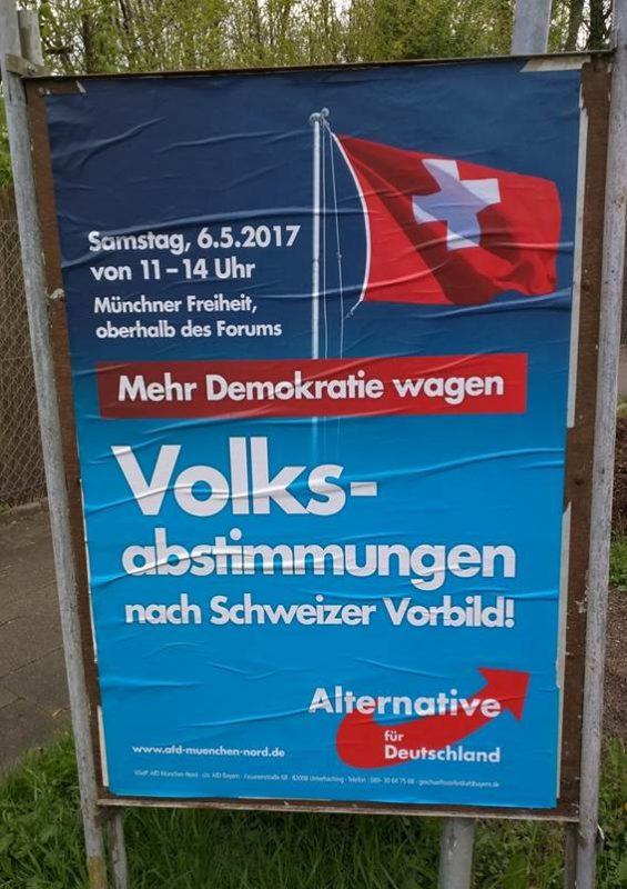 """""""Mehr Demokratie wagen""""? Ein Wahlplakat der AfD wirbt für Volksabstimmungen"""
