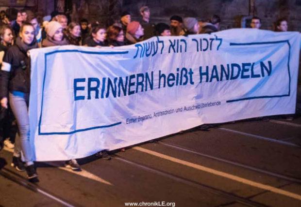 Rechtsextremismus: Leipziger demonstrieren am Vorabend des 80. Jahrestags der Novemberpogrome. © Tim Wagner