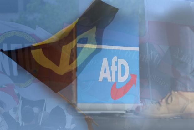 Rechtsextremismus: NPD-Jugend, Identitäre und AfD haben personelle Überschneidungen. © Paul Zinken/dpa, Ronny Hartmann/Getty, Alexander Koerner/Getty