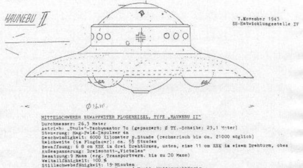 """Extremismus: »Mittelschwerer bewaffneter Flugkreisel, Type """"Hanebu II«: Angebliche Konstruktionspläne der SS dienen dem argo-Verlag als Quelle. (Aus dem Archiv von allgaeu-rechtsaussen.de)"""