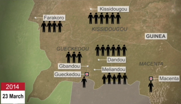 In animerten Grafiken wird gezeigt, welche Wege das Virus zurückgelegt hat und wie schnell es sich über Westafrika verbreitete.