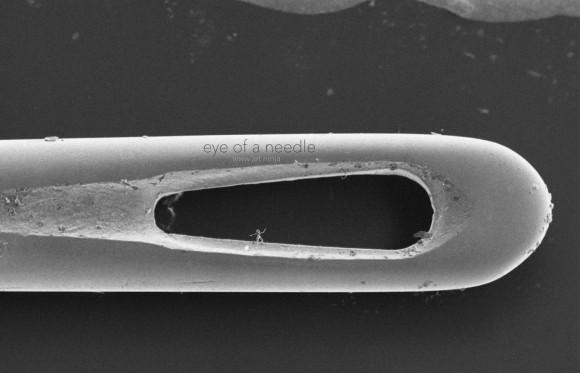 Die kleinste Skulptur der Welt passt in ein Nadelöhr. © Jonty Hurwitz