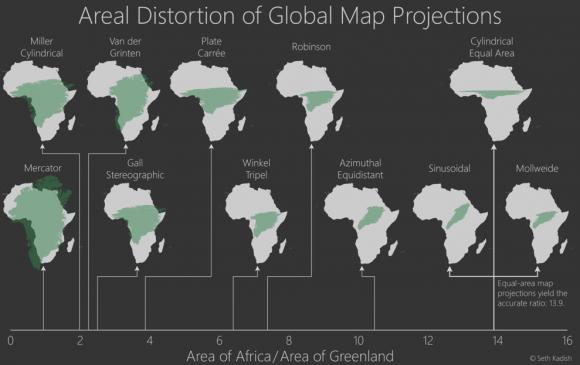 Übersicht verschiedener Kartenprojektionen. Screenshot: Washington Post