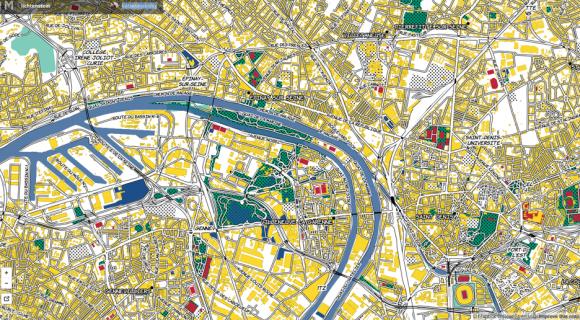Stadtplan von Paris - nach Art von Roy Lichtenstein. Screenshot: mapbox/katieykowalsky