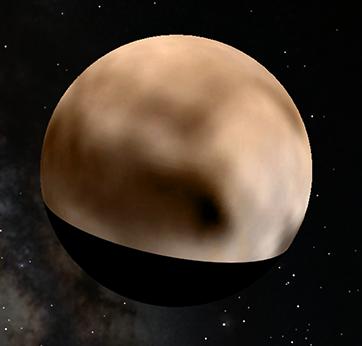 Projektion der aktuellen Pluto-Daten auf eine Kugel in Google Earth
