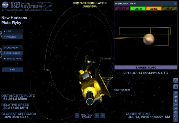 "Screenshot aus der Nasa-Simulation ""Eyes on Pluto""."