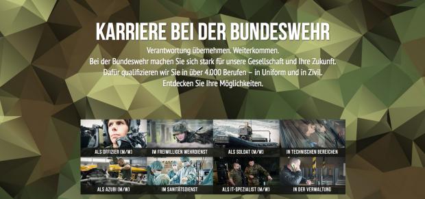 """""""Entdecken Sie Ihre Möglichkeiten"""", lockt die Bundeswehr in der Original-Kampagne. Quelle: Screenshot machwaswirklichzaehlt.de"""