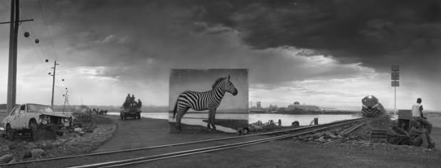 WO früher ein Zebra stand, führen heute Bahnschienen an Autowracks vorbei. © Nick Brandt, Roads to Factory with Zebra, 2014