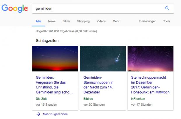 Google Suchtrends: Schlagzeilen Geminiden